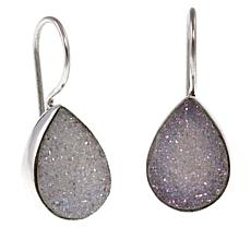 Himalayan Gems™ White Drusy Pear-Shaped Sterling Silver Drop Earrings