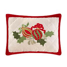 Holiday Ornaments Quilted Pillow