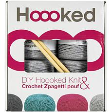 Hoooked Knit and Crochet Pouf Kit with Zpagetti Yarn - Silver Gray