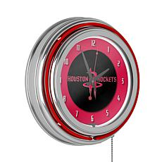 Houston Rockets Double Ring Neon Clock