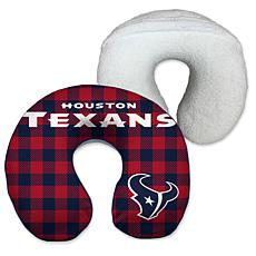 Houston Texans Buffalo Check with Sherpa Memory Foam Travel Pillow