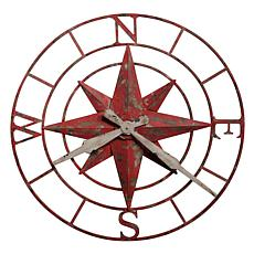 "Howard Miller ""Compass Rose"" Large Aged Gray and Red Metal Wall Clock"