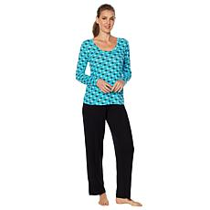 e40eb14b53 HUE 2-piece Printed Top and Solid Pant Pajama Set