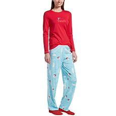 HUE 2pc Whimsical Print Pajama Set with Socks