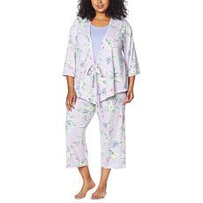 HUE 3-piece Floral-Print Pajama Set