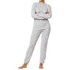 HUE Print Cloud Knit Top and Jogger Sleepwear Set