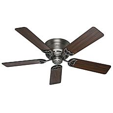 "Hunter 52"" Low-Profile III Antique Pewter Ceiling Fan with Pull Chain"