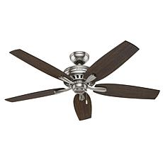 "Hunter 52"" Newsome Brushed Nickel Ceiling Fan with Pull Chain"