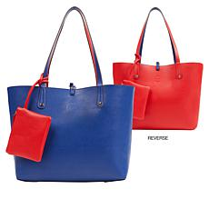IMAN Boho Chic Reversible Tote with Matching Pouch/Wristlet