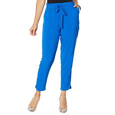 IMAN Boho Chic Tie Waist Ankle Pant with Pockets