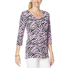 IMAN  Global Chic 3/4-Sleeve Knit V-Neck Tunic