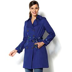 IMAN Global Chic All-Weather Pop of Plaid Luxe Trench Coat