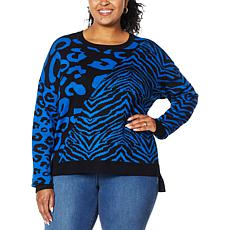 IMAN Global Chic Animal-Print Jacquard Pullover