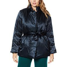 IMAN Global Chic Belted Puffer Jacket