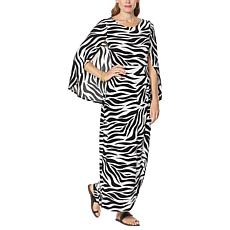 IMAN Global Chic Caped Zebra-Print Maxi Dress