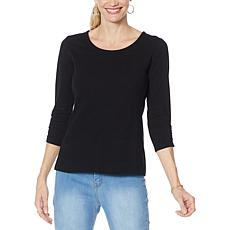 IMAN Global Chic Contour Seamed 3/4-Sleeve Tee