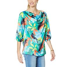 IMAN Global Chic Cowl-Neck Woven 3/4 Sleeve Top