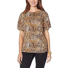 IMAN Global Chic Dolman-Sleeve Ruched Knit Easy Tee