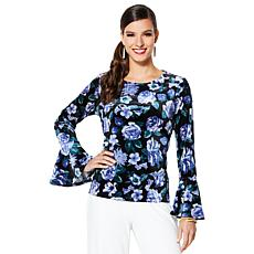 IMAN Global Chic Dressed & Ready Signature Velvet Bell-Sleeve Top