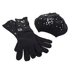 IMAN Global Chic Embellished Beret & Glove Cold Weather Set