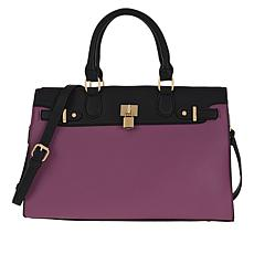 IMAN Global Chic Faux Leather Colorblock Zip-Top Tote