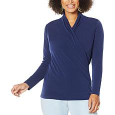 IMAN Global Chic Long-Sleeve Drape-Neck Top