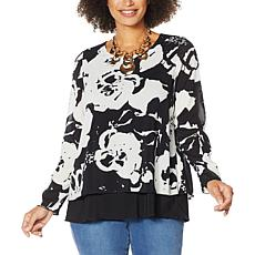 IMAN Global Chic Long-Sleeve Layered Tunic Top