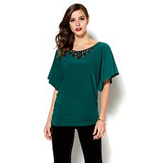 IMAN Global Chic Luxurious Embellished Neckline Shirt