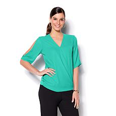 IMAN Global Chic Luxury Resort Cold Shoulder Crossover Top
