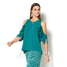IMAN Global Chic Luxury Resort Cold-Shoulder Ruffle Top