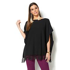 IMAN Global Chic Luxury Resort Lightweight Fringe Poncho