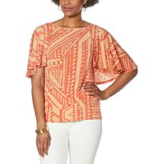 IMAN Global Chic Printed Cape-Sleeve Top with Keyhole Back