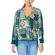 IMAN Global Chic Printed Drape-Front Woven Top