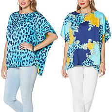 IMAN Global Chic Reversible Printed Poncho Top