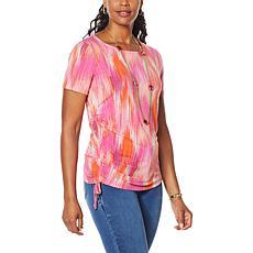 IMAN Global Chic Side Shirred Print Tee