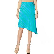 IMAN Global Chic Striped Jersey Scarf Skirt with Self Tie