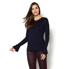 IMAN Runway Chic Luxurious Subtle Bell-Sleeve Sweater
