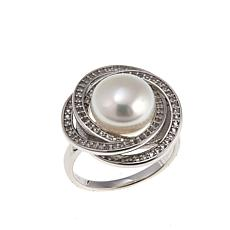 Imperial Pearls 10-11mm Cultured Pearl and White Topaz Orbit Ring
