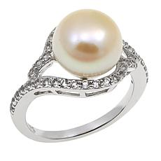 Imperial Pearls 10-11mm Cultured Pearl and White Topaz Ring