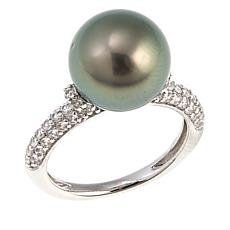 Imperial Pearls 11-12mm Cultured Tahitian Pearl and Zircon Pavé Ring