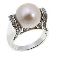 Imperial Pearls 12-13mm Cultured  Pearl and White Topaz Tension Ring