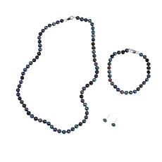 Imperial Pearls Black Cultured Pearl 3pc Jewelry Set