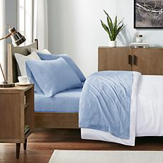 INK+IVY Heathered Cotton Jersey Blue Sheet Set - Queen