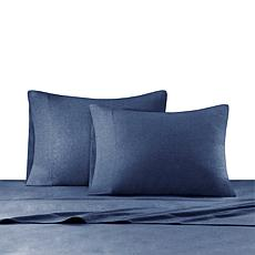 INK+IVY Heathered Cotton Jersey Navy Sheet Set - Twin