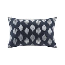 "INK+IVY Nadia Dot Cotton Embroidered Oblong Pillow - Navy - 18"" x 18"""