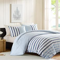 INK+IVY Sutton Cotton Duvet Cover Set - Blue - King