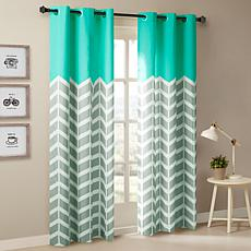 "Intelligent Design Alex Chevron Grommet Curtain Pair-Aqua-42""x84"""