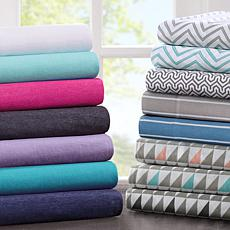 Intelligent Design Cotton-Blend Jersey Sheet Set - Navy - Twin