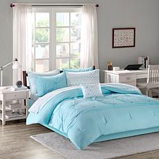 Intelligent Design  Toren Embroidered Comforter & Sheet Aqua Twin
