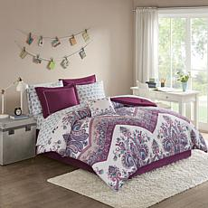 Intelligent Design  Tulay Complete Bed And Sheet Set Purple Twin
